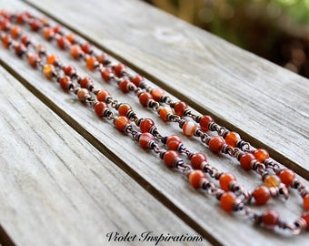 Carnelian Long Beaded Necklace / Copper Beaded Necklace / Copper Jewelry / Wire Wrapped Jewelry / Carnelian Jewelry / Layering Necklace