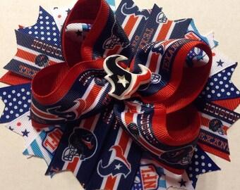 "6"" Houston Texans Boutique Hair Bow - Football Team Bow"