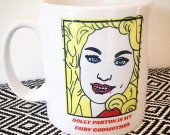 Dolly Parton hand illustrated ceramic mug. 325ml. Giftboxed.
