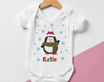 Personalised Penguin Name Baby grow -Christmas Baby Vest, Christmas bodysuit, infant clothing, baby gift, first Christmas, Xmas,