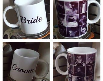 Frankenstein and bride inspired mug set