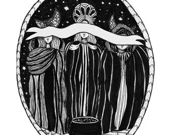 Three Witches Pen and Ink Drawing Print
