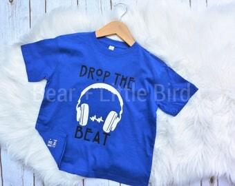 Drop The Beat Headphones T-Shirt Top - Infant or Toddler - Girls or Boys - music shirt headphones