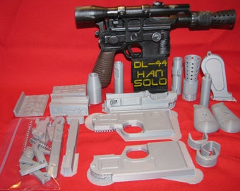 DL-44 Han Solo Blaster Pistol 3D printed Model Kit Star Wars Movie Prop Replica