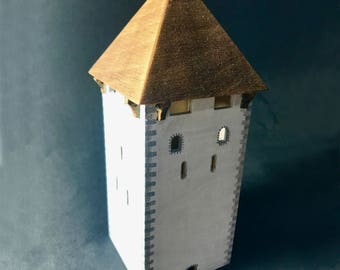 Medieval tower model, middle age architecture, ancient tower, medieval building replica, medieval castle