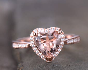 Morganite Engagement Ring Rose Gold 8mm Heart Shaped Morganite Bridal Ring Anniversary Ring Sterling Silver/10K/14K White/Rose/Yellow Gold