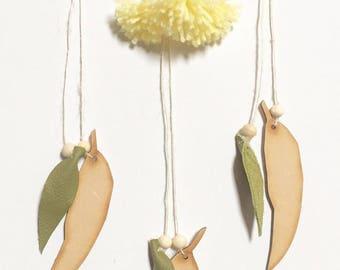 Tassel Wall hoop - yellow gum blossom - australian botanical - australian woodland - australiana decor - australian flora - eucalyptus