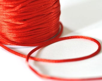 1 meter shiny Red satin rat tail cord 2mm