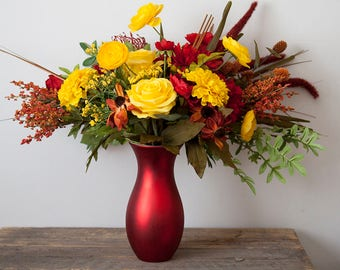 Fall Bouquet, Fall Wedding Flowers, Fall Wedding Bouquet, Yellow Bouquet, Red Bouquet, Silk Bouquet, Silk Wedding Flowers, Fall Flowers