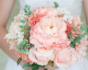 Blush Bridal Bouquet, Peach Bouquet, Blush Bouquet, Peony Bouquet, Rose Bouquet, Wedding Flowers, Silk Bridal Bouquet, Bridal Bouquett