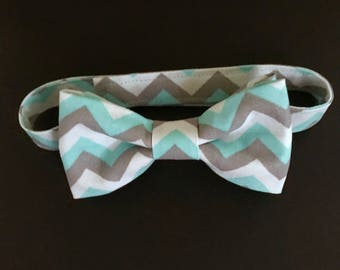 REDUCED!!  Little Boys Bow Tie; Boys Adjustable Bow Tie; Toddlers Aqua, Gray and White Chevron Bow Tie; Chevron Baby Bow Tie; Kids Bow Tie