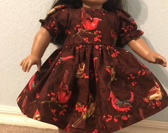 Sweet Cardinals Dress for American Girl or Other 18 inch Doll