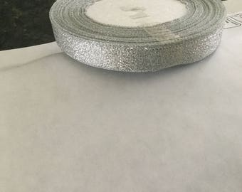 Ribbon silver 12 mm wide to finish your Christmas package