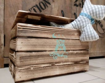 Toy Box, game box, wooden chest, wooden box with lid, owl, wooden crate, Apple crate, chest, crate, box, storage, Kleiderkisteer