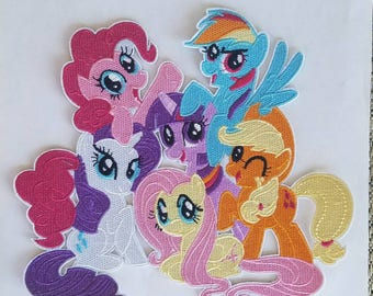 My little pony iron on inspired patch, all ponies together iron on applique inspired patch, My little pony party embroidery patch inspired