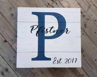 Family Established Custom Wood Sign, Family Name Sign, Initial sign, Personalized Rustic Home Decor Sign, Farmhouse, Monogram wood sign