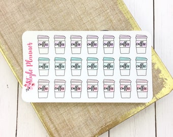Cute Coffee Cups Dainty Pastel Planner Stickers | Erin Condren | Happy Planner | Recollections