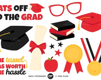 50% OFF SALE! Graduation Clip Art, School Clipart, Graduation Hat Clip Art - Commercial Use, Instant Download - V4