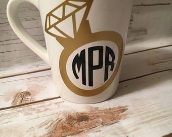 Monogrammed Engagement Ring Coffee Mug, Engagement Gift, Engagement Present, Engagement Prop, Future Mrs, Bride To Be, Bride Travel Mug