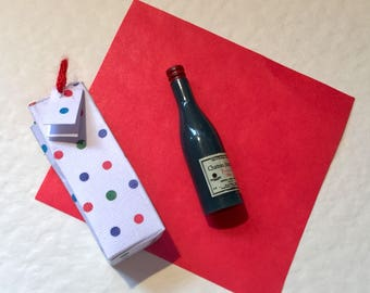Doll house miniature wine in gift bag with tissue and tag. 1/12th scale handmade