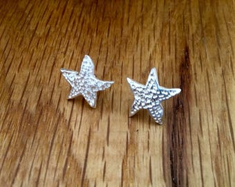 Silver Starfish stud earrings, Starfish stud earrings, Silver stud earrings, silver starfish studs, starfish, jewellery, stud earrings