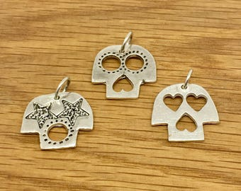 Sale - Handmade silver Day of the Dead skull pendants, Day of the Dead pendants, Steampunk, Day of the Dead, Handmade, Silver, Pendant