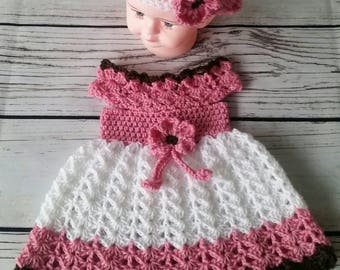 Crochet Baby Dress and Hat, Infant Baby Dress, Handmade Baby Girl Dress, Baby Girl Gift, Baby Shower Gift, Infant Dress, Coming Home Dress