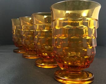 Vintage Amber Indiana Glass Co Whitehall Stacked Cube Footed Juice Glasses set of 4