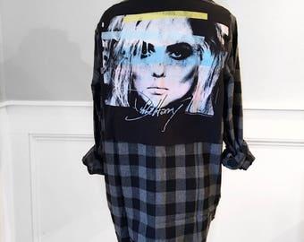 Debbie Harry flannel Tee Debbie Harry Tshirt on men's small black plaid flannel shirt Unisex Blondie t shirt punk t shirt punk legend