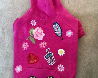 Dog hoodie Pink patched dog hoodie small dog sweater dog sweatshirt dog clithes patches