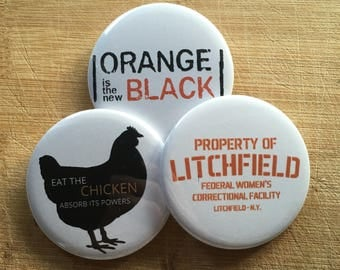 Orange is the new black Netflix, Pin-back buttons 2.25 inch