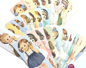 "29 bookmark vintage bookmarks ""Paper Doll"" 14.5 cm x 5.3 cm bookmarks"