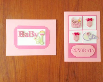 Set of 2 Baby Girl Cards- Baby Girl Shower- Pink Baby Girl Cards- Congratulations Card Baby Girl