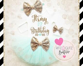 1/2 Birthday Shirt Baby Girl   Half Birthday Outfit   Baby Girl Half Birthday Tutu Set   Baby Girl Birthday Shirt   Girl 1/2 Birthday Tutu