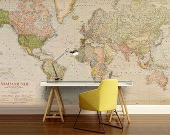 World map wall decal, wallpaper world map, old map wall decal, antique world map, vintage wall mural, vintage map, mapamandi, old map