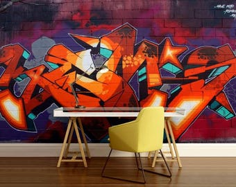GRAFFITI 3d MURAL, graffiti art, graffiti mural, self-adhesive vinly, graffiti wall decal, graffiti mural, graffiti wallpaper