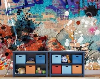GRAFFITI WALLPAPER, graffiti wall decal, graffiti  street wallpaper, graffiti wall mural, graffiti wall decal, street art, color graffiti