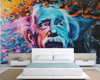 GRAFFITI WALLPAPER, graffiti wall decal, graffiti  street wallpaper, graffiti wall mural, graffiti wall decal, Albert Einstein art,