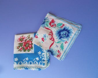 Blue and red floral hankies