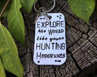 Harry Potter Hand Stamped Keychain Explore the world like youre hunting Horcruxes