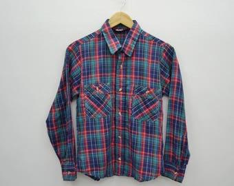 LEVIS Vintage LEVIS Shirt 80s Western Plaid Cotton Blue LEVI'S Button Down Checkered Long Sleeve Shirt