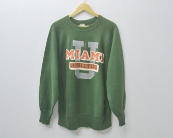 CHAMPION Sweatshirt Vintage 90s Champion Reverse Weave Miami Hurricanes Crewneck Pullover Sweater Size L
