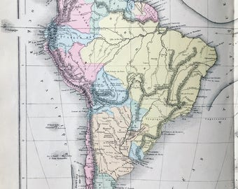 1872 map of South America taken from a geography atlas old. Antique map.