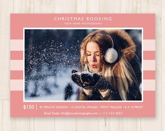 Christmas Mini Sessions Template - Holiday Mini Sessions, Christmas Minis, Winter Booking Ad -  Photoshop Template PSD *INSTANT DOWNLOAD*