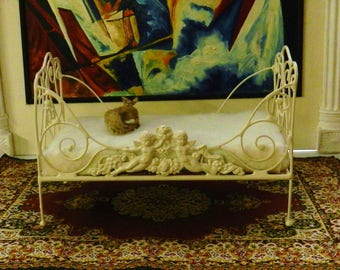 """Artisan Made Barbie, Playscale, 1:6 Scale Wrought Iron Look Day Bed """"CHANTAL CHERUBS"""""""