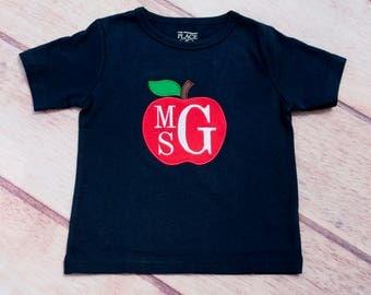 Back to School Shirt, Apple Applique, Personalized Back to School Shirt, Embroidered Shirt, Monogrammed Shirt, Custom Back to School