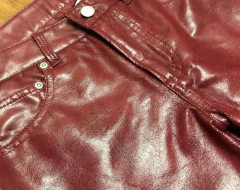 Vintage 1980's Red leather Pants by Z.Cavaricci Womens size 3 Authentic leather Red zipper Michael Jackson Pants Club dancing outfit