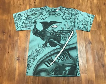 Vintage All over Print T-shirt Youth medium 1990's Maui brand surfing shirt Ocean Pacific Shark graphics Mint condition