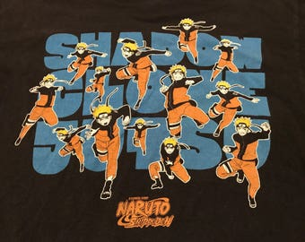 2002' Naruto Shippuden T-shirt Medium Unisex Anime cartoon promo shirt Hook-Ups tee 90's Cartoons Dragon Ball Z shirt