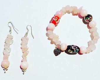 Japanese Style Rose Quartz and Glass Bead Set